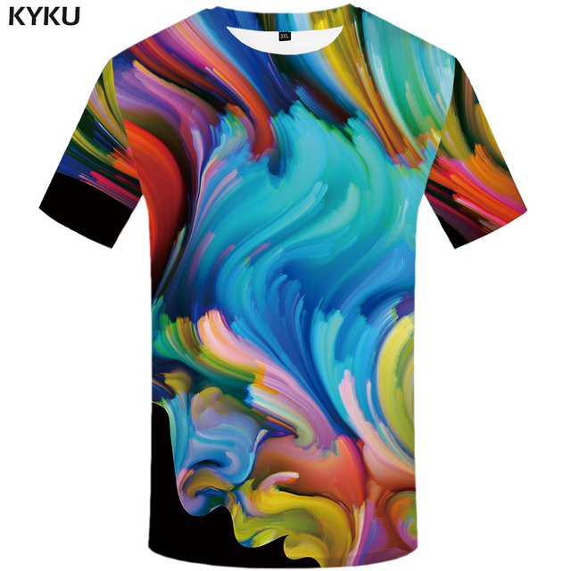 Komik T shirt Sanat T shirt Erkekler Graffiti Tişört Baskılı Renkli T gömlek 3d Soyut Tişört Homme Karakter Baskı erkek giyim