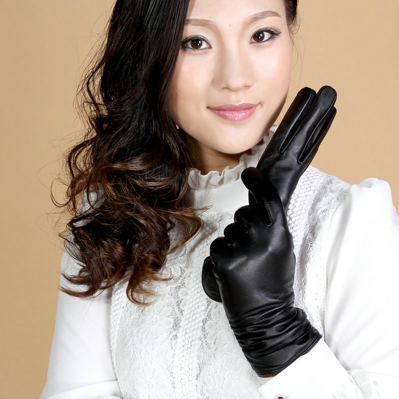 Fashion Genuine Lady Leather Gloves Waterproof Driving Plus Velvet Thick Warm Winter Female Gloves Mittens Black