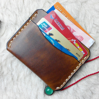 Genuine Leather Credit Card Holder Cover Retro Handmade Small Bank Cardcase Luxury Cool Card Protector Case