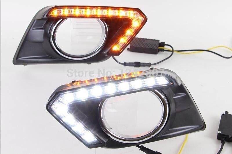 Бесплатная доставка,автомобиль-специальные светодиодные DRL фары дневного света для Nissan изгоев x-тропки границы 2014-2016 с желтым поворотником