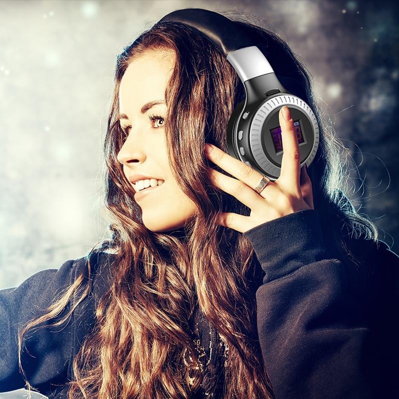 ZEALOT B19 Bluetooth Headphones LCD Display Wireless Earphones Stereo Earphones With Mic Headsets Micro-SD Card Slot FM Radio good quality original zealot b19 led screen stereo headset bluetooth headphones headband headsets with fm tf for mp3 player