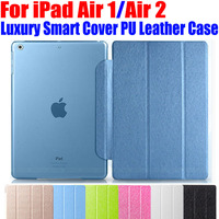 20pcs/Lot Fashion Luxury Stand Smart PU Leather Case For iPad Air Translucent Clear back Case For iPad Air1 Air2 I606