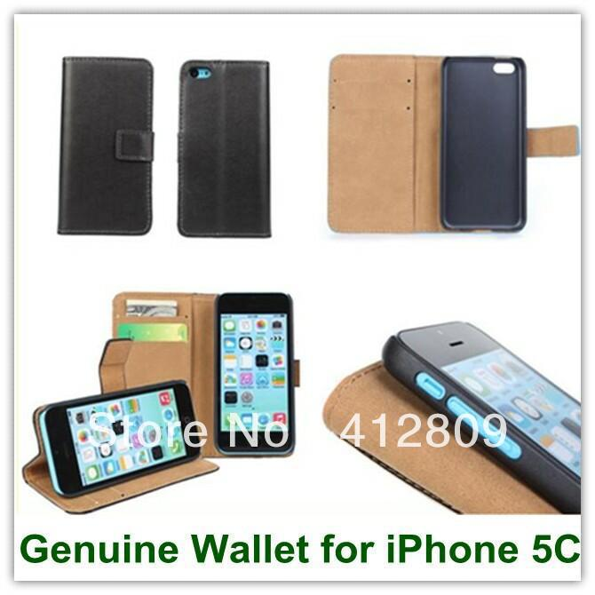 New Arrival Black Genuine Leather <font><b>Wallet</b></font> Back Covers for <font><b>iPhone</b></font> <font><b>5C</b></font> with ID Credit Card Stand <font><b>Case</b></font> Free Shipping image