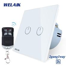 цена на WELAIK Glass Panel Switch White Wall Switch EU remote control Touch Switch  Light Switch 2gang1way AC110~250V A1923XW/BR01