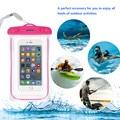 Universal A Prueba de agua Cubierta de la Caja 4 Colores Luminoso Transparente DEL PVC Impermeable bolsa para iphone 5 5s 6 6 s plus con ajustable cuello
