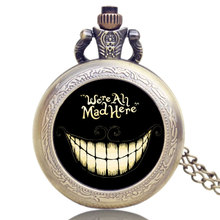 Small Bronze Alice in Wonderland We are All Mad Here Quartz Pocket Watch for Women Mens Xmas Gift