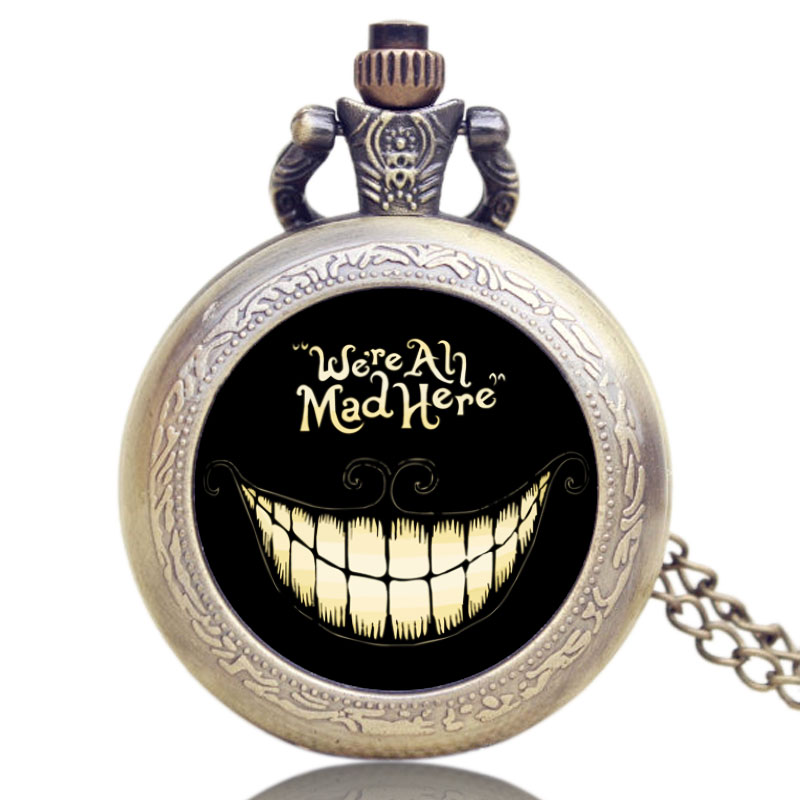 Small Bronze Alice in Wonderland We are All Mad Here Quartz Pocket Watch for Women Mens Xmas Gift alice in wonderland wall decal quote cheshire sayings we re all mad here vinyl decal for macbooks laptops car windows etc