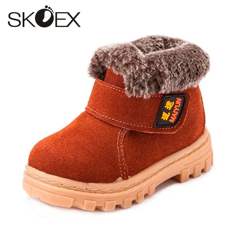 Botines de nieve SKOEX para niñas y niños Calzado de felpa Cuero - Zapatos de niños