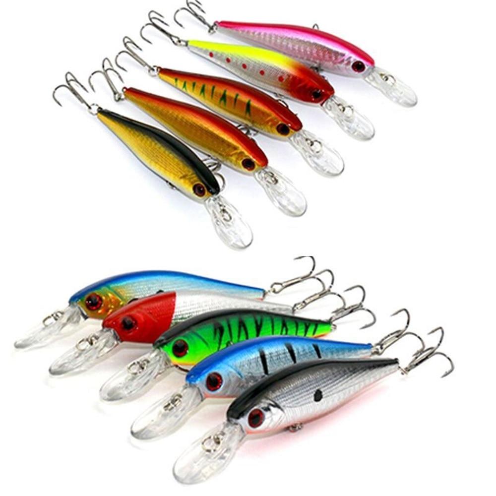 Lot 10pcs Kinds of Fishing Lures Crankbaits Hooks Minnow Baits Tackle Metal Hook JULY24
