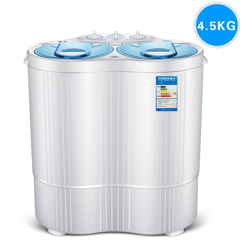 230w power Mini washer can wash 4.5kg clothes+130w power 3kg dehydration twin tub top loading washer&dryer SEMI-AUTOMATIC image