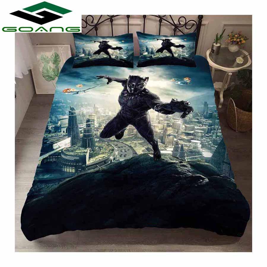 GOANG bedding set bed sheet duvet cover pillow case 3d digital printing Black Panther 3pcs kids bedding home textiles
