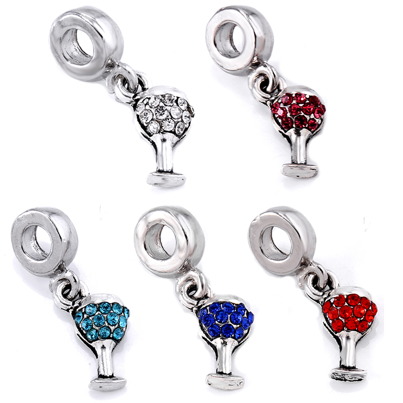 Trendy Alloy Wineglass Rhinestone Cup Spacer Beads Pendant Charm For Women Men Bracelets Necklace Jewerly Making DIY Accessories
