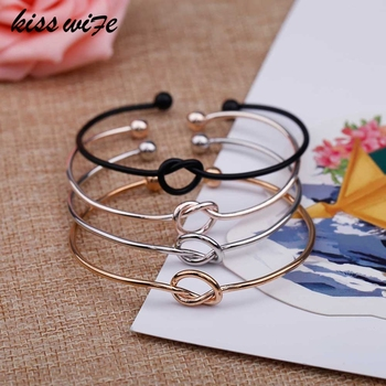 KISS WIFE 4-color original design pure copper casting love knot open metal bracelet bracelet love bracelet