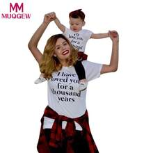 MUQGEW family matching outfits MomMe Girls clothes Women Ladies Summer Letter Print Tops TShirt Family Outfits Clothes(China)