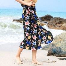 Bohemia Print Women Skirts High Waist Midi Skirt Bow Tie 2019 Summer Sexy Split Wrap Skirt Floral Long Pleated Beach Skirts