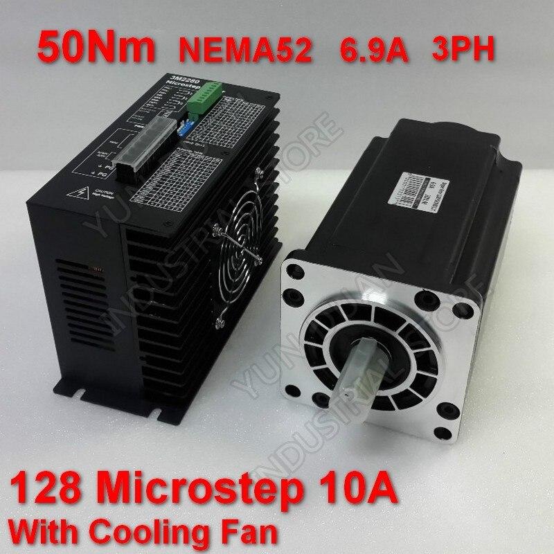 50Nm 130mm NEMA52 6.9A Kit de pilote de moteur pas à pas 3PH 32 DSP AC18-220V 128 Microstep avec ventilateur de refroidissement couple élevé pour CNC