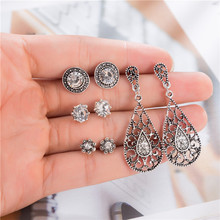 4 Pairs Vintage Crystal Stud Earrings For Women Antique Silver Hollow Out Tiny Round Earring Set Statment Wedding Party Jewelry