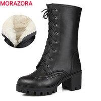 MORAZORA/Россия Теплые Натуральная кожа женские мотоциклетные сапоги толстые Обувь на высоком каблуке зимняя обувь на платформе женские до сер