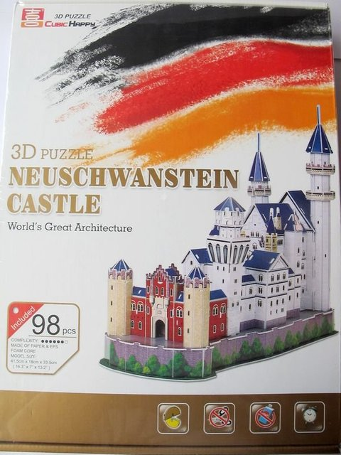 Hot Sell:Free Shipping 3D Puzzle Neuschwanstein Castle Brain Mind Teaser Toy Educational Game Retail