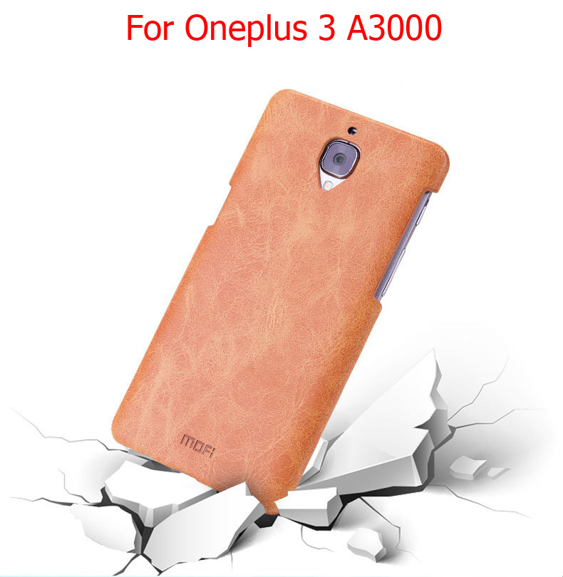 One plus 3 MOFi Back Cover For Oneplus 3t Coque Funda PU Leather Hard Cases Oneplus 3 A3000 5.5""