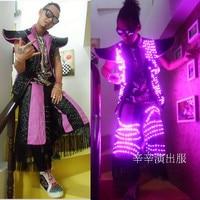 Newest Fashion Stage Led Men Clothing Ballroom Modern Jazz Hip Hop Dance Clothes Light Up Luminous Fringe Led Pants