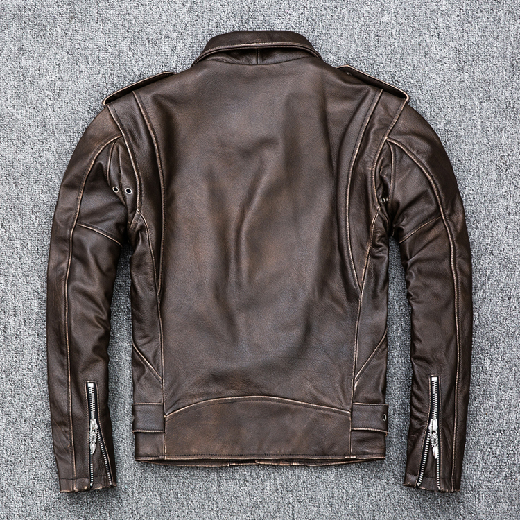 HTB1kRaNKeuSBuNjSsziq6zq8pXaG MAPLESTEED Brown Distressed Motorcycle Jacket Men 100% Calf Skin Classic Slim Leather Jacket Man Moto Biker Coat Winter 5XL M190