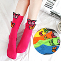 One Pair Three-dimensional Butterfly Embroidered Decor Women Winter Warm Short Ankle Socks Solid Candy Colors Cotton Socks S5246