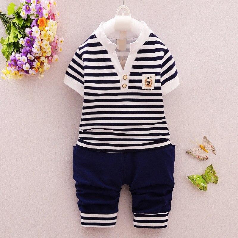 0-2Y Baby Boy odzież zestaw Toddler koszulka w paski + spodnie 2 - Odzież dla niemowląt - Zdjęcie 2