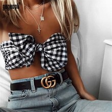 Gagaopt Bow Knot Crop Top Strapless Off Shoulder Sexy Plaid Tank Tops for Women Summer Beach Sleeveless Camis