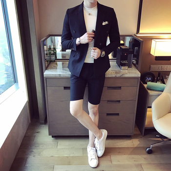 New Summer Men Suits With Short Pants 2017 Stylish Double Breasted Casual Slim Fit Male Blazer Sets Party Wear Men Tuxedos