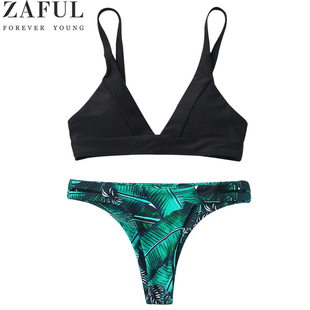286b83af54 ZAFUL New Bikinis Women Swimsuit Bathing Suit Push Up Swimwear Leaf Print  Plunge Thong Bikini Set Biquinis Brazilian Beachwear