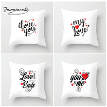 Fuwatacchi Valentines Day Cushion Cover Red Heart Arrow I LOVE YOU Pillow For Gift Home Chair Decorative  Pillowcase