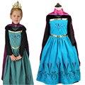 Novos Trajes Anos para Crianças 2016 Inverno Anna & Elsa Vestido com Manto Luva Longa Das Meninas Princesa Vestido Cosplay Robe Princesse Fille