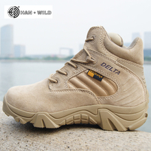 2018 Spring Men Military Boots Genuine Cow Leather Waterproof Tactical Desert Combat Ankle