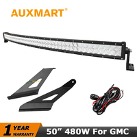50 Inch Curved LED Light Bar CREE 5D 480W Mount Bracket For Ford F250 F350 F450