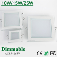 Freeshipping 10W 15W 25W Glasses Led Square Panel Recessed Wall Ceiling Downlight AC85 265V Warm Cool