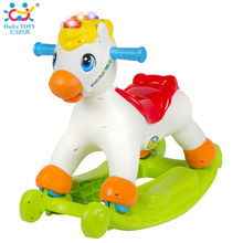 Rocking Pony Musical Educational Rocking Horse Ride On Rollers with Music/Light/Sliding Toy Children Learn ABC, Shapes & Numbers