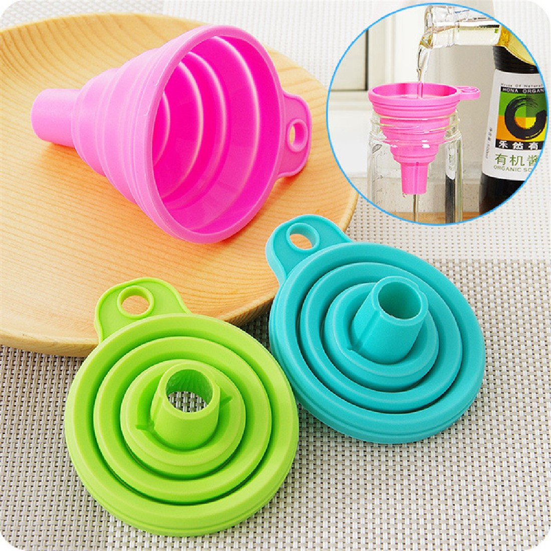 Useful Collapsible Style Funnel Hopper Protable Mini Silicone Gel Foldable Kitchen Cooking Tools Accessories Gadgets