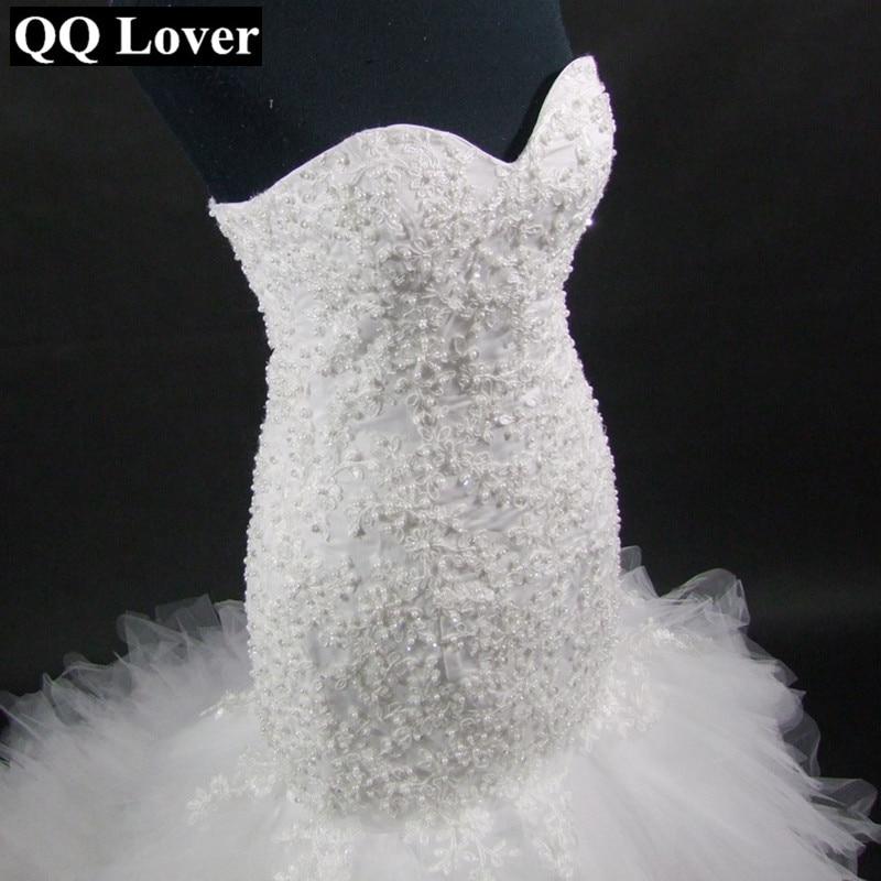 QQ Lover Arabic Style Wedding Dress 2019 Deep V Neck