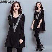 Fashion Diamonds Big V O Neck Plus Size Vintage Dress Women Casual Loose Autumn Winter Dress