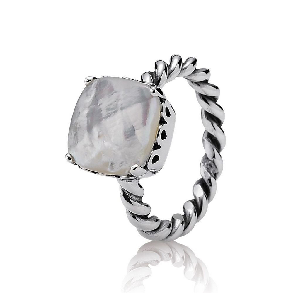 New Original 100% 925 Sterling Silver Elegant Sincerity Twist Ring Mother of Pearl Logo Brand Original Charm rings jewelry Gifts