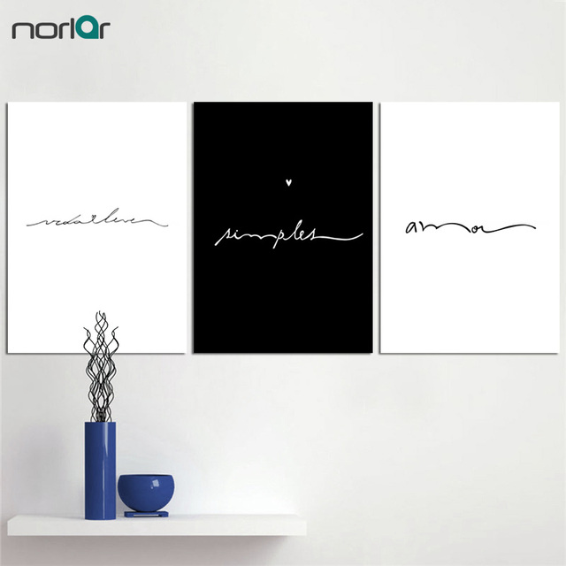 Minimalist Love Sign Word Art Black And White Poster Canvas Prints Inspirational Wall Modern Home