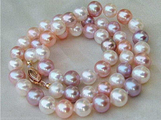 free shipping  >Natural 8-9MM multicolor Akoya Cultured Pearl Necklace