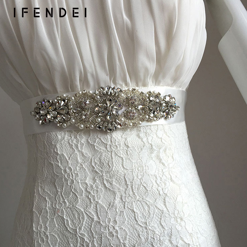 Ifendei Belts Women Rhinestone Female Belt Ivory Ribbon
