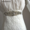 IFENDEI Belts Women Rhinestone Female Belt Ivory Ribbon Wedding Dress Sash Belt Crystal Handmade Bridal Sash Cinturones Mujer
