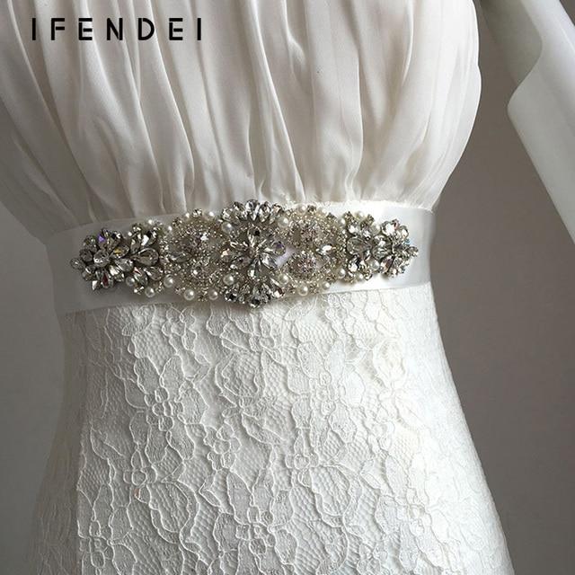 IFENDEI Belts Women Rhinestone Female Belt Ivory Ribbon Wedding Dress Sash Belt Crystal Handmade Bridal Sash Cinturones Mujer