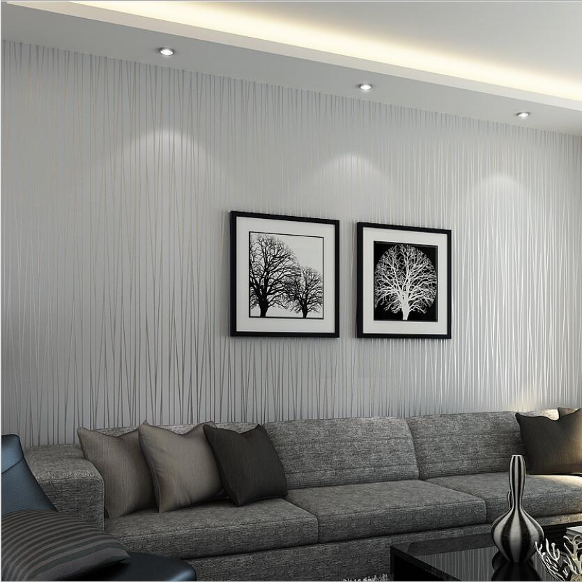 Us 2249 35 Offmodern Fashion Striped Wallpaper Luxury Living Room Silver Grey Tv Backdrop Wallpapers Roll Pink White Stripes Wall Paper Ze002 In