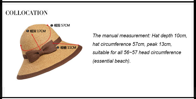 9cb86a4fafd Women s Sun Hat Big Bow Wide Brim Floppy Summer Hats For Beach Panama Straw  Bucket Protection Visor Femme Cap Weave foldable