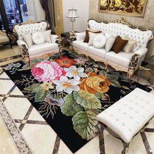 Image 2 - Classic retro American 3D Flower Printed door mat Bedroom living room carpet  bedside rug custom made non slip velvet floor mat