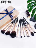 Pincéis de maquiagem Definir Presente Do Feliz Natal para As Mulheres ENZO KEN 10Pcs Sintético Pincéis de Maquiagem Conjunto de Pincel de Blush Em Pó Profissional